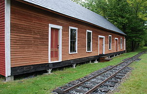 Monson Railroad - Monson station building and a short length of restored track, 2007