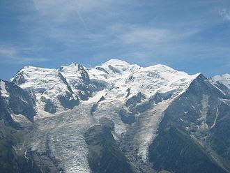 Mont Blanc du Tacul - Mont Blanc du Tacul (far left), Mont Maudit (left) and Mont Blanc (centre)