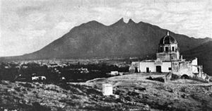 Monterrey - View of Monterrey and Cerro de la Silla in 1904