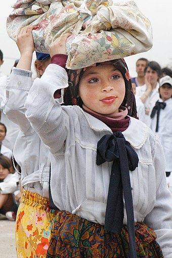 A laundress girl in a school play in Montevideo Montevideo school play laundress.jpg