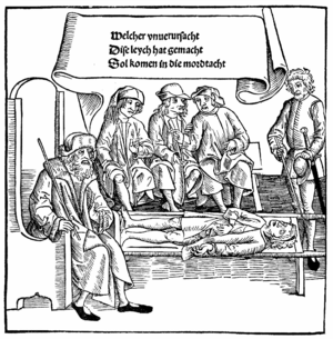 Vogelfrei - Judge and lay judges impose a sentence of outlawry for murder. Woodcut from the Bamberger Halsgerichtsordnung (1507)