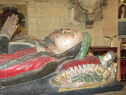 Effigy of Elizabeth Vernon, Robert Corbet's great-grandmother, in the family chapel at St Bartholomew's church, Moreton Corbet. Her husband, Sir Robert Corbet, seen behind, died in 1513, but she was still a force in family affairs.