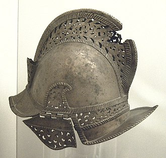 Warfare in pre-colonial Philippines - The Moros later adopted European armour and firearms during their wars with Spain and rebellion (Embadir), like this of an 18th or 19th century brass morion helmet.