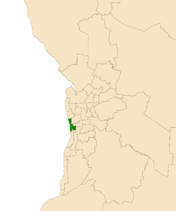 Map of Adelaide, South Australia with electoral district of Morphett highlighted