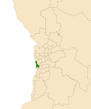 Electoral district of Morphett - Electoral district of Morphett (green) in the Greater Adelaide area