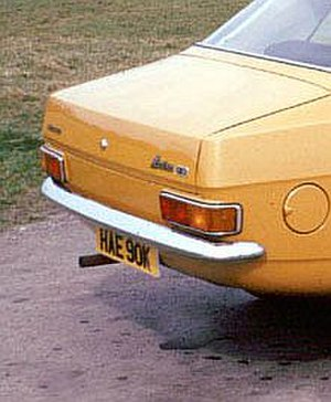 British Leyland Motor Corp v Armstrong Patents Co - Rear view of Leyland Marina showing exhaust pipe