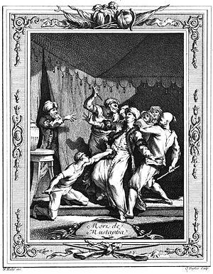 Şehzade Mustafa - Strangling of Şehzade Mustafa; engraving by Cl. Duflos, 18th century