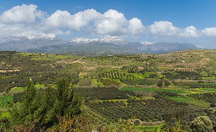 Messara Plain Mount Ida chain Messara plain from Phaistos Crete Greece.jpg