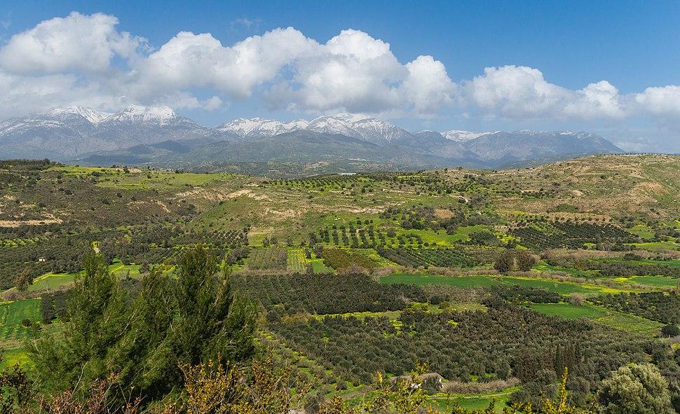 Mount Ida chain Messara plain from Phaistos Crete Greece
