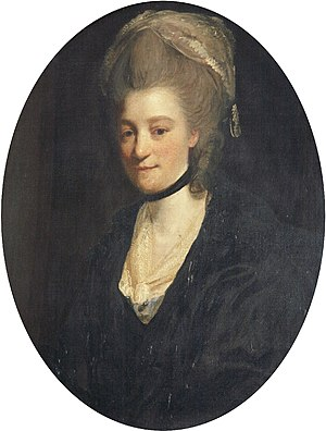 """John Clevland (1706–1763) - """"Mrs John Clevland of Tapley"""", portrait by Joshua Reynolds (1723–1792) of one of the three wives (unidentified) of John I Clevland. Collection of Burton Art Gallery and Museum, Bideford"""