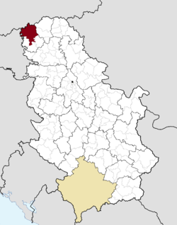 Location of the city of Sombor within Serbia