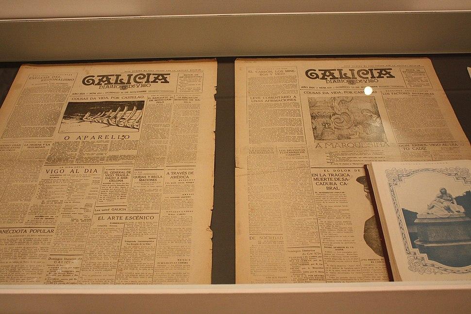 Museo Pontevedra, 2 Expo Castelao 02-74b, Galicia-Diario de Vigo 16.11.1924 (esq), 23.11.1924 (dta)