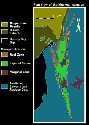 Muskox intrusion - Geologic map of the Muskox intrusion and adjacent geologic groups
