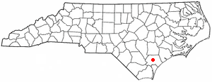 Burgaw, North Carolina - Image: NC Map doton Burgaw