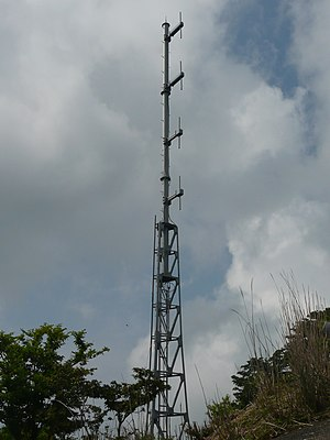 Collinear antenna array - Collinear dipole array on repeater for radio station JOHG-FM on Mt. Shibisan, Kagoshima, Japan