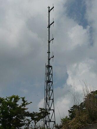 Collinear antenna array - Collinear dipole array on repeater for radio station JOHG-FM on Mt. Shibisan, Kagoshima, Japan