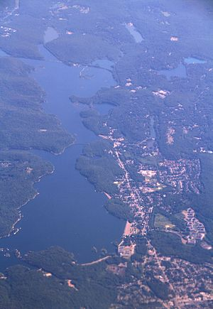 Wanaque, New Jersey - Aerial view of Wanaque (lower right) and Wanaque Reservoir