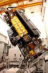 NOAA-N' satellite tilted in Vandenberg AFB clean room.jpg