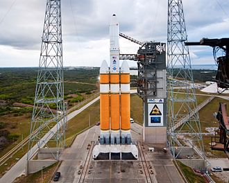 """Orion (satellite) - USA-223 (NROL-32), the fifth """"Mentor"""" satellite, atop a Delta IV rocket"""