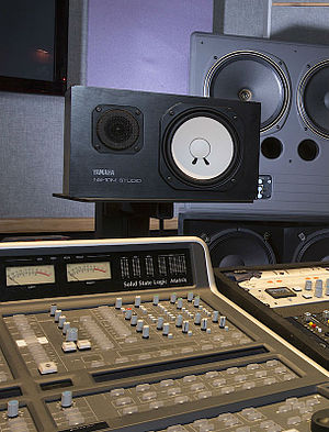 Yamaha NS-10 - The Yamaha NS-10 studio monitor, identifiable by its horizontal lettering and distinctive white cone.