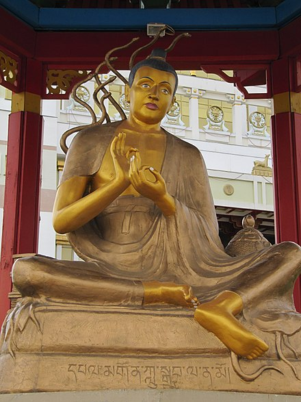 "A statue of the Mahayana philosopher Nagarjuna, founder of the Madhyamaka school. Considered by some to be an Arya (noble) bodhisattva or even the ""second Buddha"". Nagardjuna.jpg"