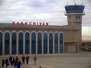 Nakhchivan International Airport - Airside view of terminal at Nakhchivan