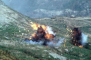 Napalm bombs explode after being dropped from a Republic of Korea Air Force F-4E Phantom II aircraft during a live-fire exercise.