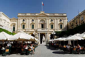 Republic Square, Valletta - The façade of the Bibliotheca and the open air cafés at Republic Square