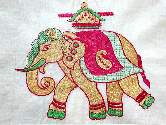 An Elephant Needlework on a traditional Kerala Saree