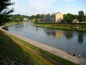 Neris - Neris River at Green Bridge, Vilnius.