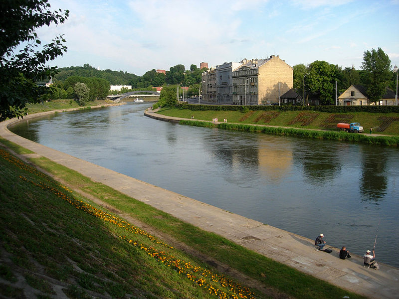 Neris River in Vilnius at Green Bridge.JPG