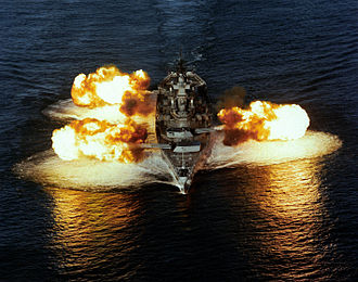 USS New Jersey (BB-62) - New Jersey fires all main guns, December 1986