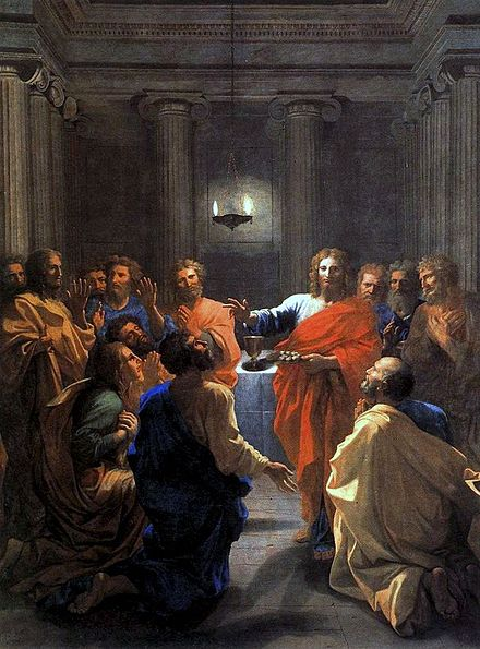 The Institution of the Eucharist by Nicolas Poussin, 1640 Nicolas Poussin - The Institution of the Eucharist - WGA18310.jpg