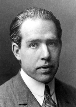 Head and shoulders of young Niels Bohr in a suit and tie