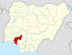 Location of Ondo State in Nigeria