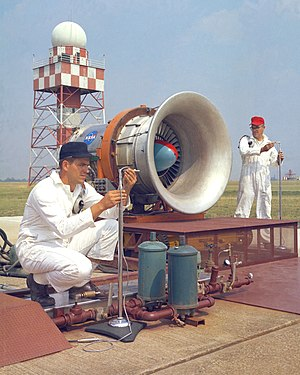 Noise - NASA researchers at Glenn Research Center conducting tests on aircraft engine noise in 1967