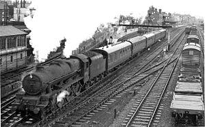 Normanton railway station - 'Jubilee' Class 4-6-0 'Leander' at Normanton in 1961