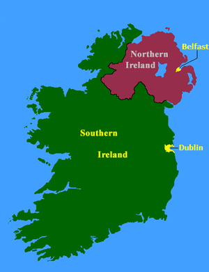 Partition (politics) - The island of Ireland after partition between the primarily Irish nationalist Southern Ireland (today the Republic of Ireland) and the Irish unionist-majority Northern Ireland (today part of the United Kingdom of Great Britain and Northern Ireland).
