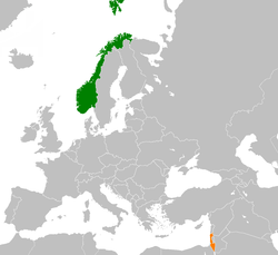 Map indicating locations of Norway and Israel
