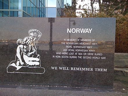 Memorial to members of the Royal Norwegian Navy, Army and Merchant Marine in Halifax, Nova Scotia, Canada, on the flag plaza outside the Maritime Museum of the Atlantic