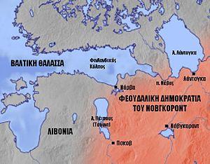 O χάρτης της Ανατολικής Βαλτικής την εποχή του Αλέξανδρου Νιέφσκι.