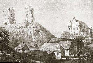 Navahrudak - Ruins of Navahrudak Castle, by Napoleon Orda.
