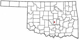 Tribbey, Oklahoma - Image: OK Map doton Tribbey