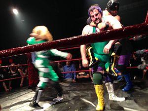 Hoodslam - The Stoner Brothers, a popular duo at Hoodslam, wrestling Bat Manuel and El Chupacabra