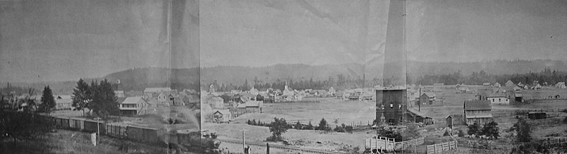 A monotone image of a logging town, circa 1906, with a train in the foreground and buildings behind.