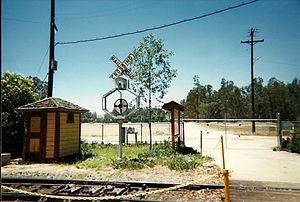 """Wigwag (railroad) - """"Peach basket"""" variation primarily found on the Union Pacific.  This particular signal is operational and guards the main crossing of the Orange Empire Railway Museum"""