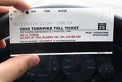 Standard Ohio Turnpike ticket, in this case for a Class 1 vehicle (two-axle car without trailer) entering at Exit 218