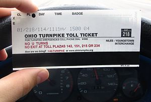 Ohio Turnpike - Standard Ohio Turnpike ticket, in this case for a Class 1 vehicle (two-axle car without trailer) entering at exit 218