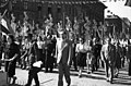 Oktogon, május 1-i ünnepség felvonulói. Háttérben Andrássy út a Jókai tér felé nézve. Fortepan 78633.jpg