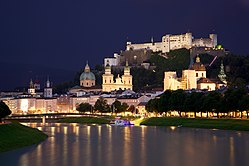 Old Town Salzburg by night